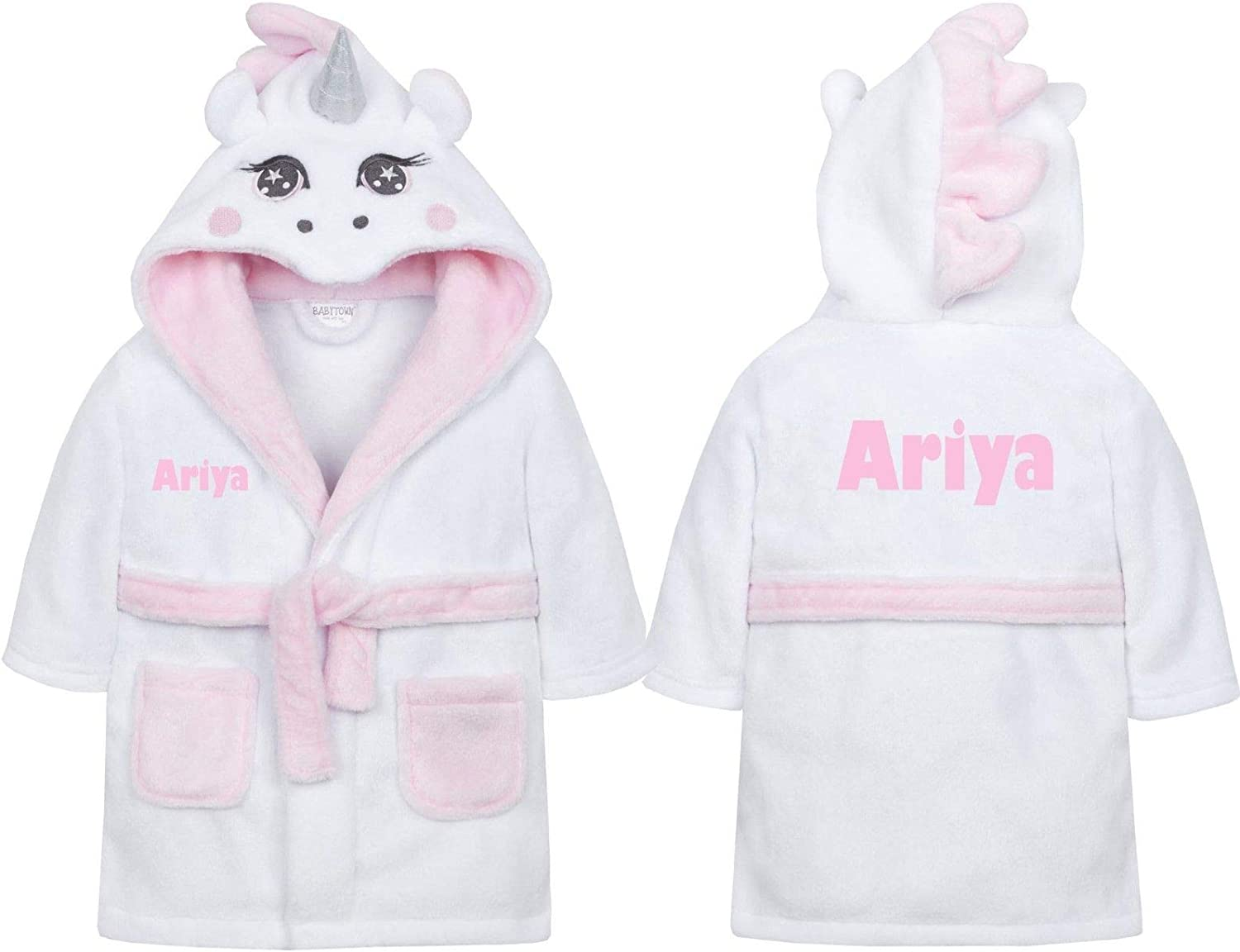 Personalised Baby Robe Bath Dressing Gown Embroidered Ears Boy Girl 1st Birthday