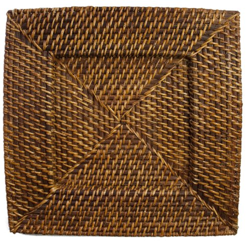 Chargeit by Jay Square Rattan Charger (Charger Square Plates Rattan)