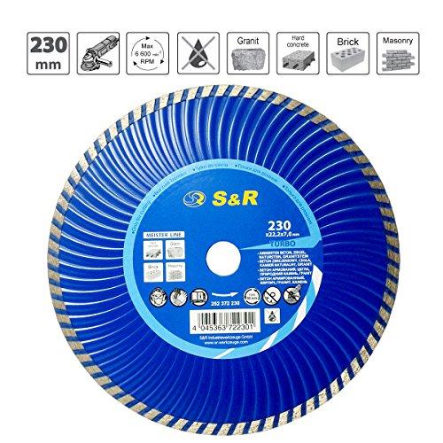 S&R Diamanttrennscheibe 230x7,0mmx22,2 mm Turbo ,Beton armierter Beton,Granit,Naturstein,Ziegel, Trockenschnitt