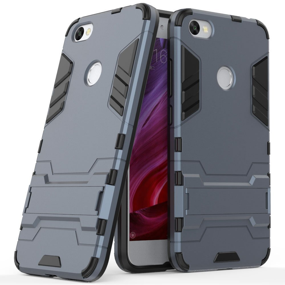 MaiJin Funda para Xiaomi Redmi Note 5A / Redmi Note5A Prime (5,5 Pulgadas) 2 en 1 Híbrida Rugged Armor Case Choque Absorción Protección Dual Layer Bumper Carcasa con Pata de Cabra (Azul