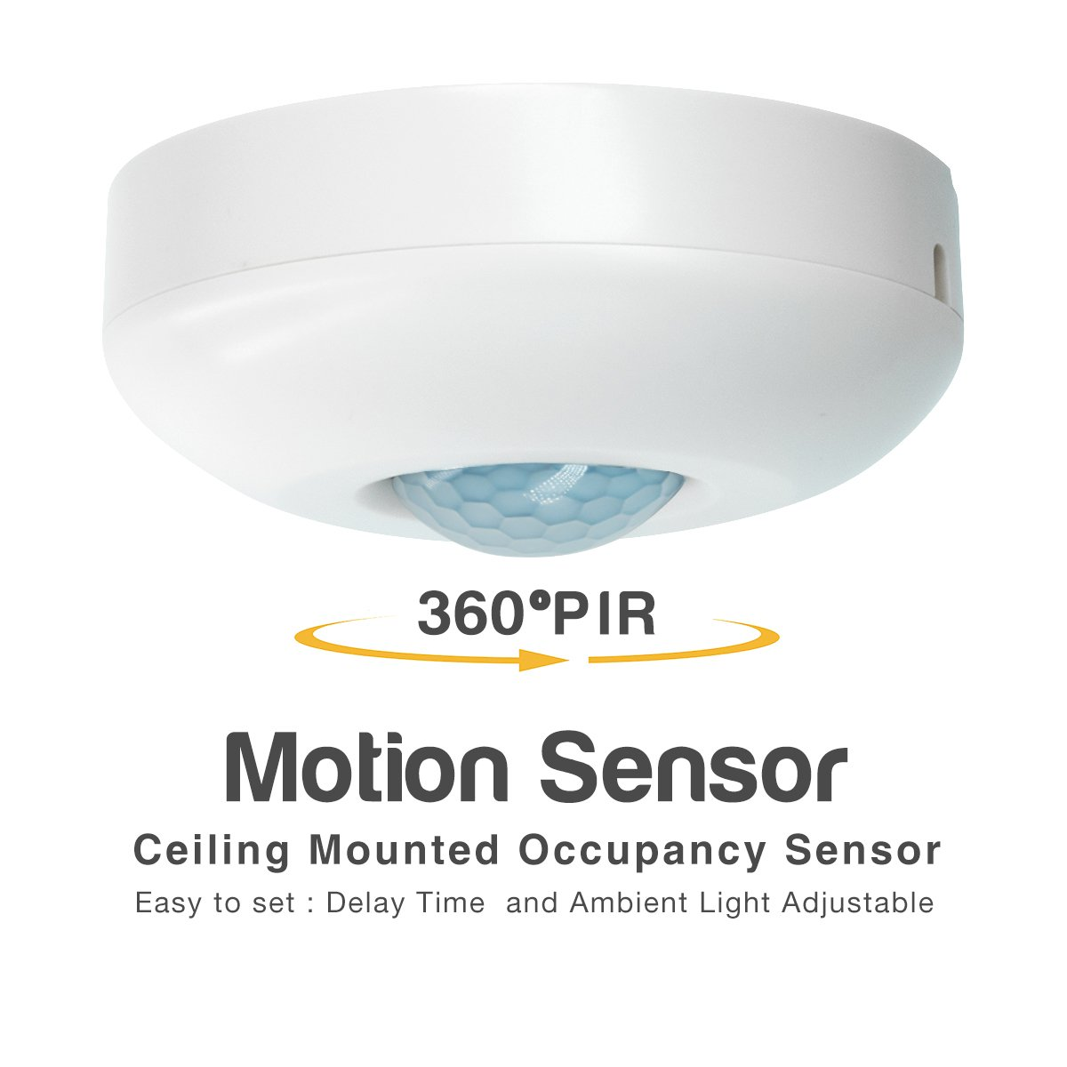 Motion Sensor Switch - Sensky BS019B Ceiling Mounted Automactic Switch DC 10V to 30V Human Body Infrared, Max 30 Minutes Time Delay and Ambient Light Sensor Adjustable Light Switch for Indoor Lighting