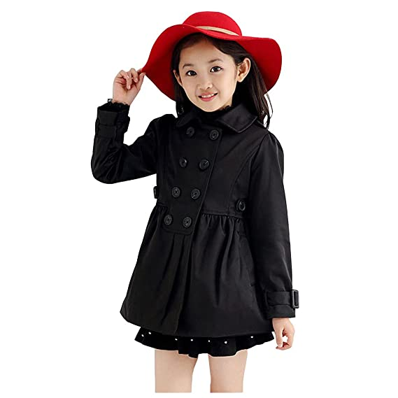 c9f94c3ad4ea LPATTERN Kids Girls Cotton Double Breasted Bubble Hem Trench Coat ...