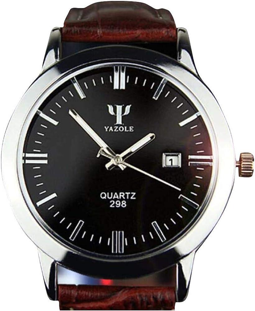 Bestow Hombre Banda de Cuero Calendario Yazhuo LUN BLU-Ray Reloj ...