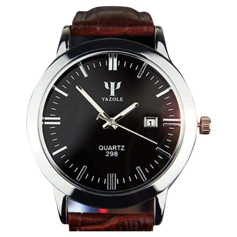 Bestow Hombre Banda de Cuero Calendario Yazhuo LUN BLU-Ray Reloj Resistente al Agua Fecha Analšgico Reloj de Pulsera de Cuarzo Resistente(Marršn): ...