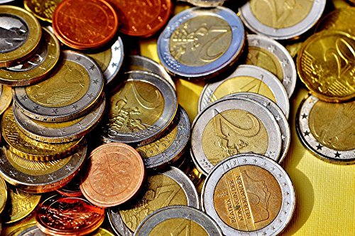 Quality Prints - Laminated 36x24 Vibrant Durable Photo Poster - Coins Money Currency Euro Specie Loose Change Gold Metal Metal Money Finance Cash Euro Cents Å' Coin