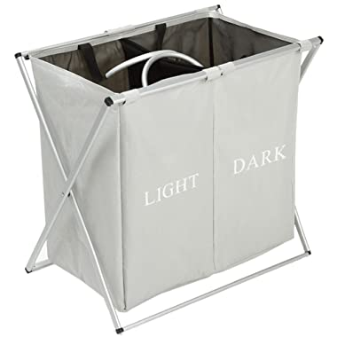 Double Laundry Hamper With Waterproof Bags ,Folding X-frame 2 Sections Dirty Laundry Basket for Apartment Home College Use