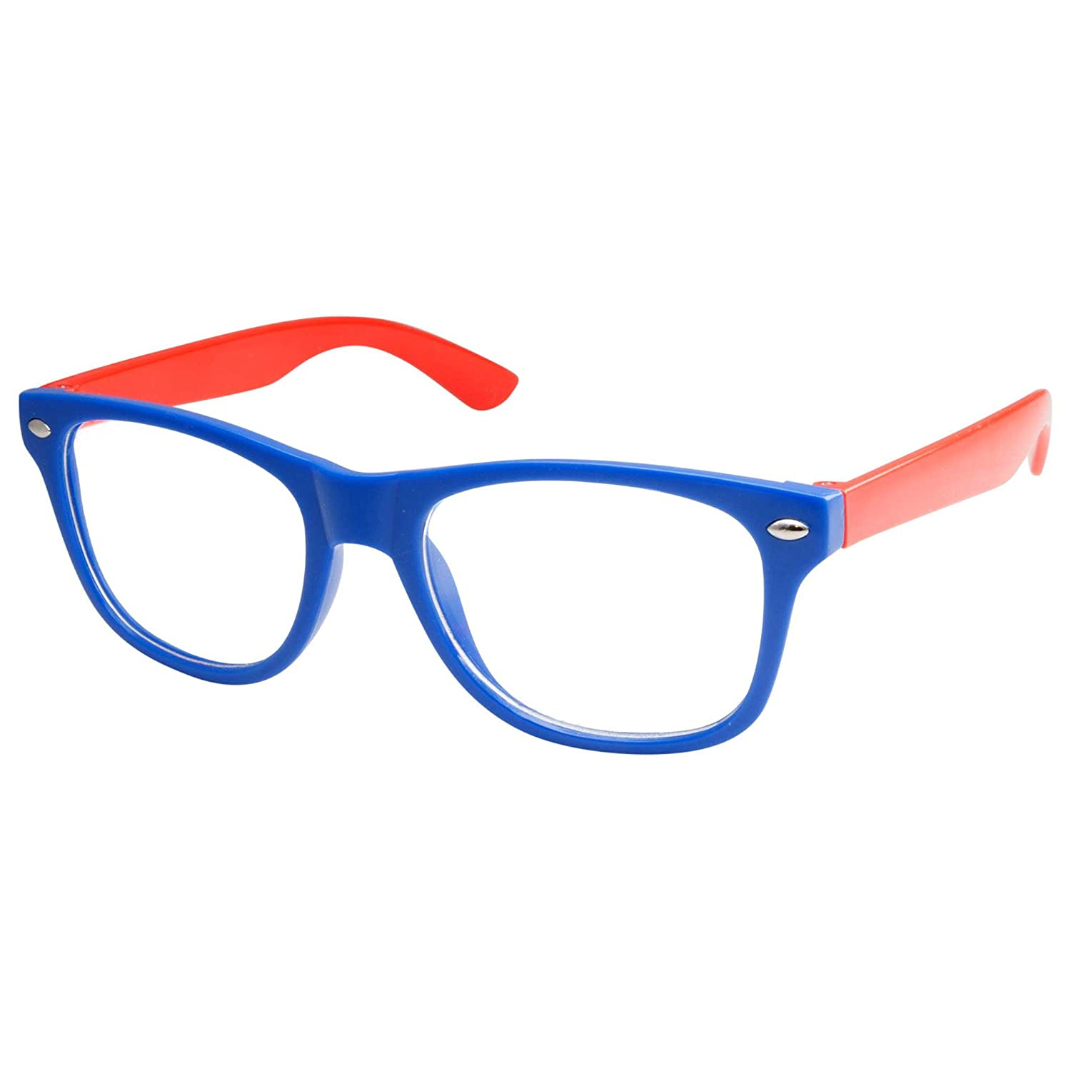 5efc5f22e3f Amazon.com  Kids Nerd Retro Two Color Frame Clear Lens Childrens Fake Eye  Glasses (Age 3-10) Blue Red  Clothing