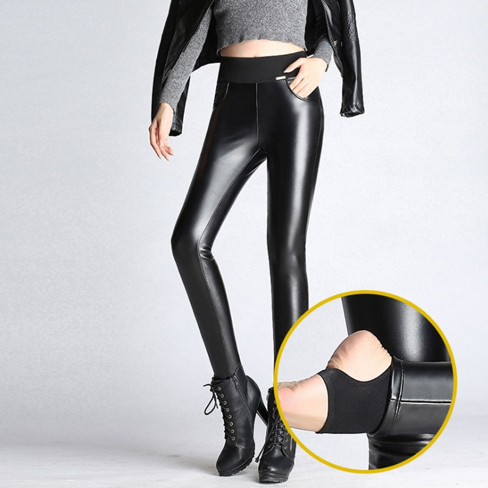 ca11a6433c5960 Amazon.com: Zhuhaitf Vintage High Waisted Faux Leather Leggings for Women  Velvet Step Foot Pants: Clothing