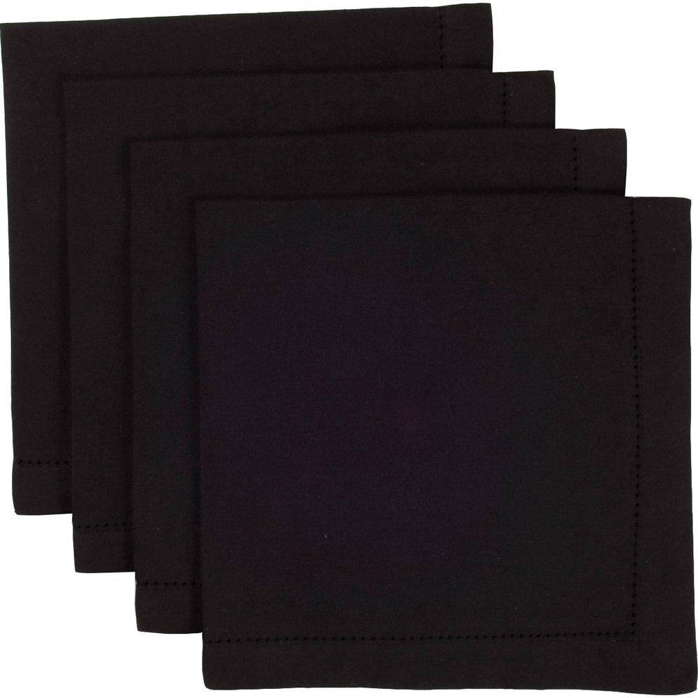 Now Designs Set of 4 Hemstitch Napkins, Black by Now Designs