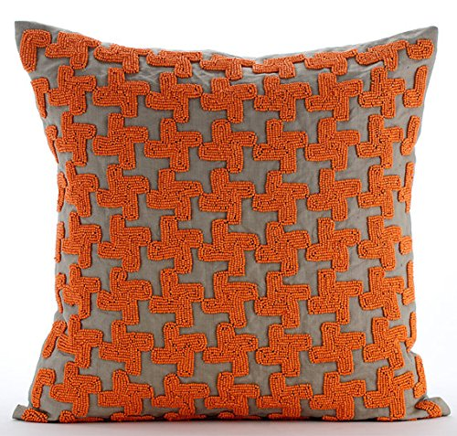 Luxury Orange Throw Pillow Covers, Orange Beaded Lattice Tre