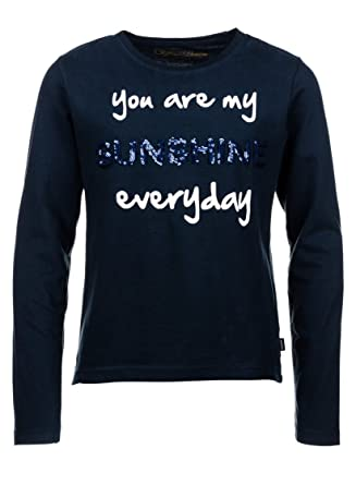070cee018998 Tiffosi - T-Shirt Manches Longues col Rond Bleu Nuit pour Enfants et Ados  Filles