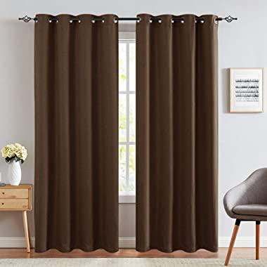 jinchan Linen Look Curtains for Living Room Thermal Insulated Room Darkening Window Treatment Grommet Curtain Panels Single Panel 95  L Brown