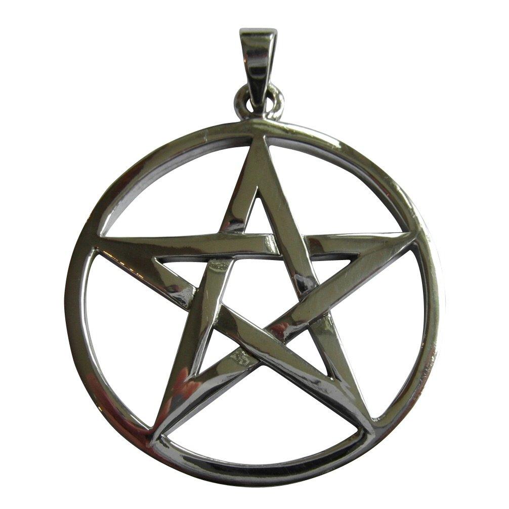 Sterling Silver 925 Pentagram Large Pendant (37 MM Diameter And Weighs 10 Grams)