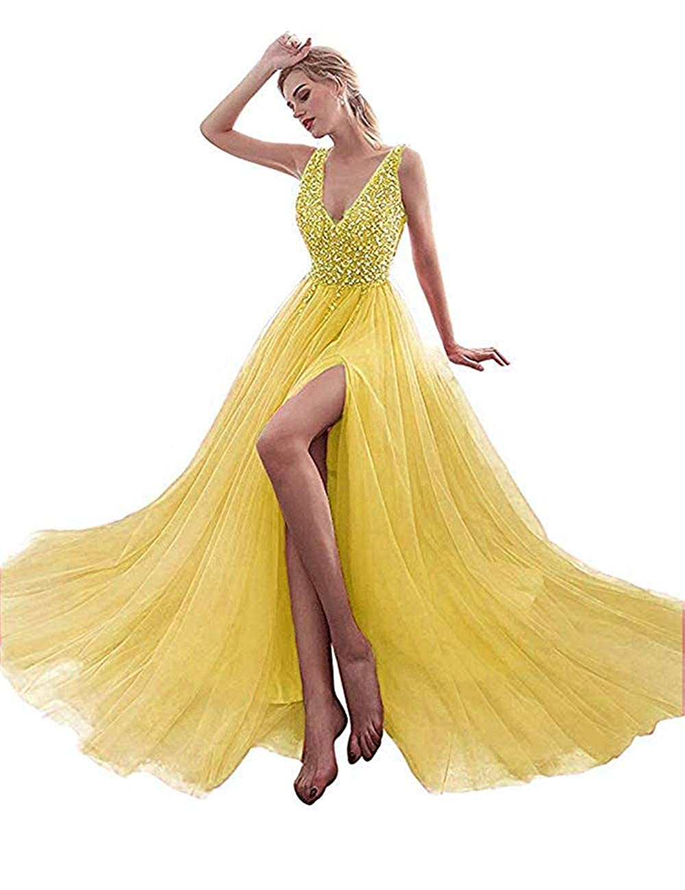 Yellow Huifany Prom Dresses Sexy V Neck High Split Sequins Beaded Long Formal Evening Gown