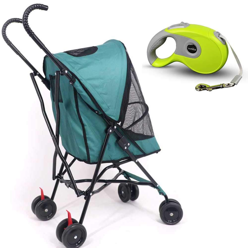 CX TECH Pet Roadster Luxury Puppy Stroller Travel Pet Trolley Senior Dog Cart Light Weight Stainless Frame Pet Travel Carrier Big Wheel With Safety Breaks