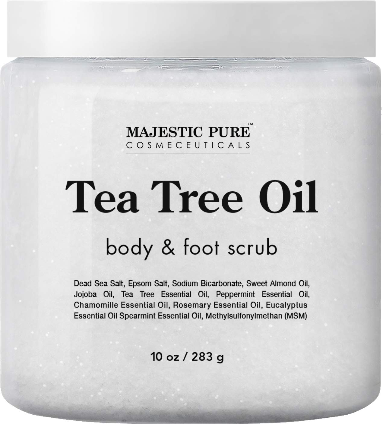 MAJESTIC PURE Tea Tree Body and Foot Scrub - Strong Shield against Fungus - Best Exfoliating Cleanser for Skin - Natural Help Against Acne and Callus - Promotes Healthy Foot - 12 oz by Majestic Pure