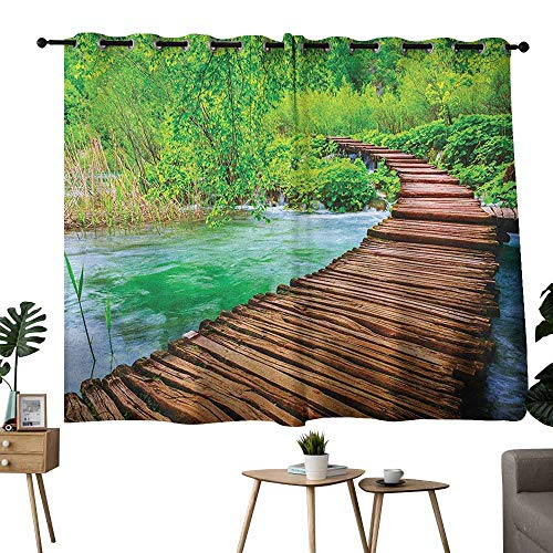 Mannwarehouse Landscape Printed Insulation Curtain Nostalgic Hand Made Oak Pathway Over The Creek Water Heads into South Europe Noise Reducing 55