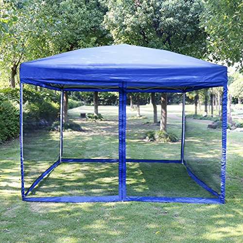 ZEYU HOME Blue Outdoor Easy Pop Up Canopy Screen Party Tent with Mesh Side Walls 10 x 10 ft