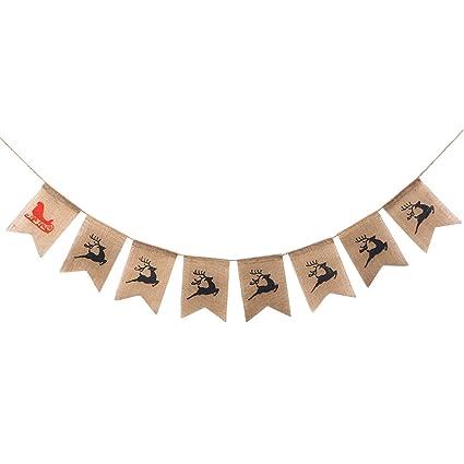 Wedding & Anniversary Bands 2.8 Meters Cute Christmas Sleigh Elk Deer Pattern Garland Bunting Banners Flag For Door Wall Hanging Decoration