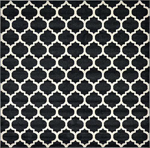 Unique Loom Trellis Collection Moroccan Lattice Black Square Rug 10 0 x 10 0