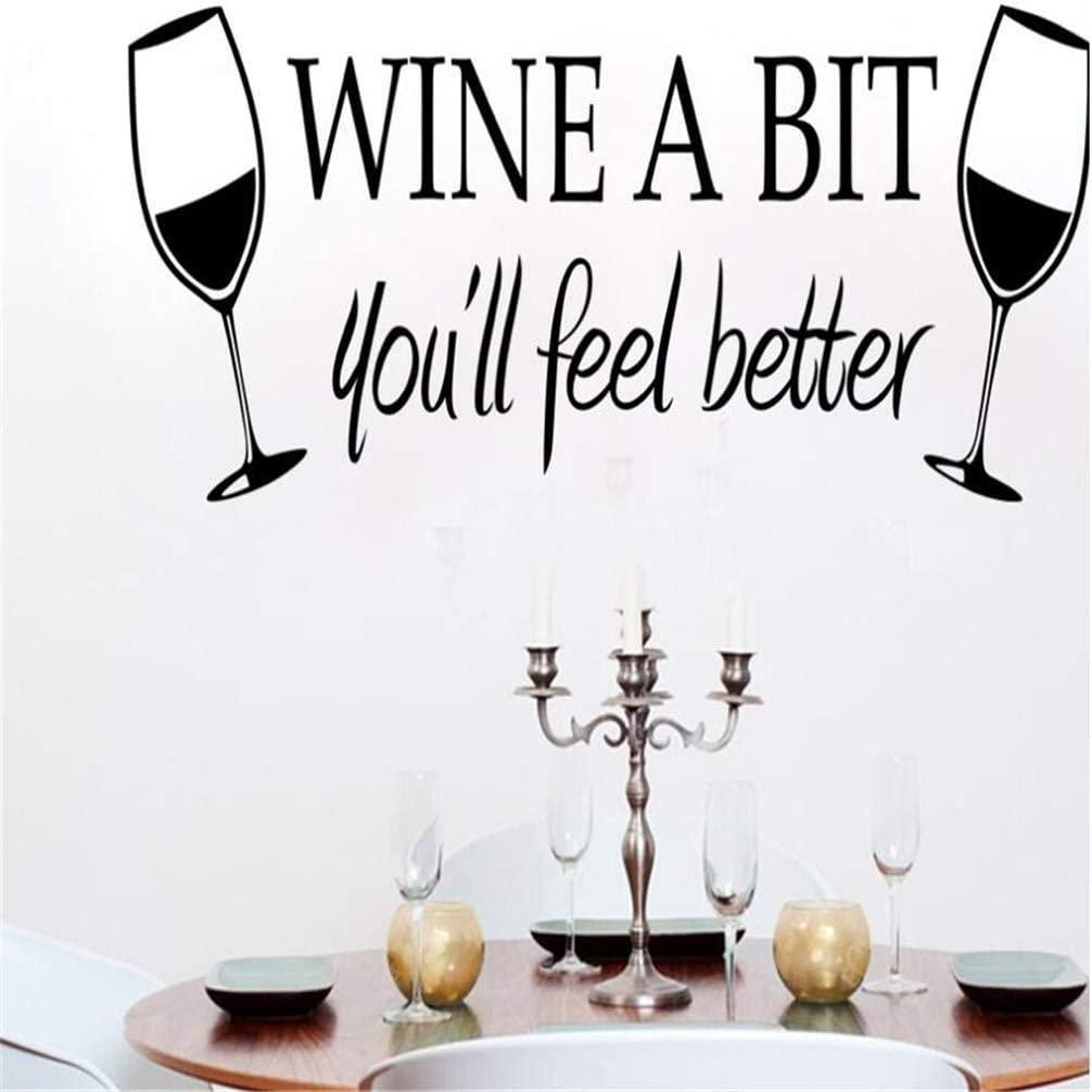 Diuangfoong Wine A Bit You'll Feel Better Wall Decal Relaxe Time Removable Decoration Office Home Vacation Hotel Decor