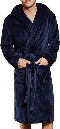 Aibrou Uomo Giacca Vestaglia Lunga Invernale con Cappuccio in Flanella Uomo Vestaglia da Camera in Pile Pigiama per Casa Bagno Hotel