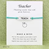Eleusine Teach Blessing Card Bracelet Jewelry Inspirational Wish Card Wish Bracelet for Teacher'S Day Light Green B6579