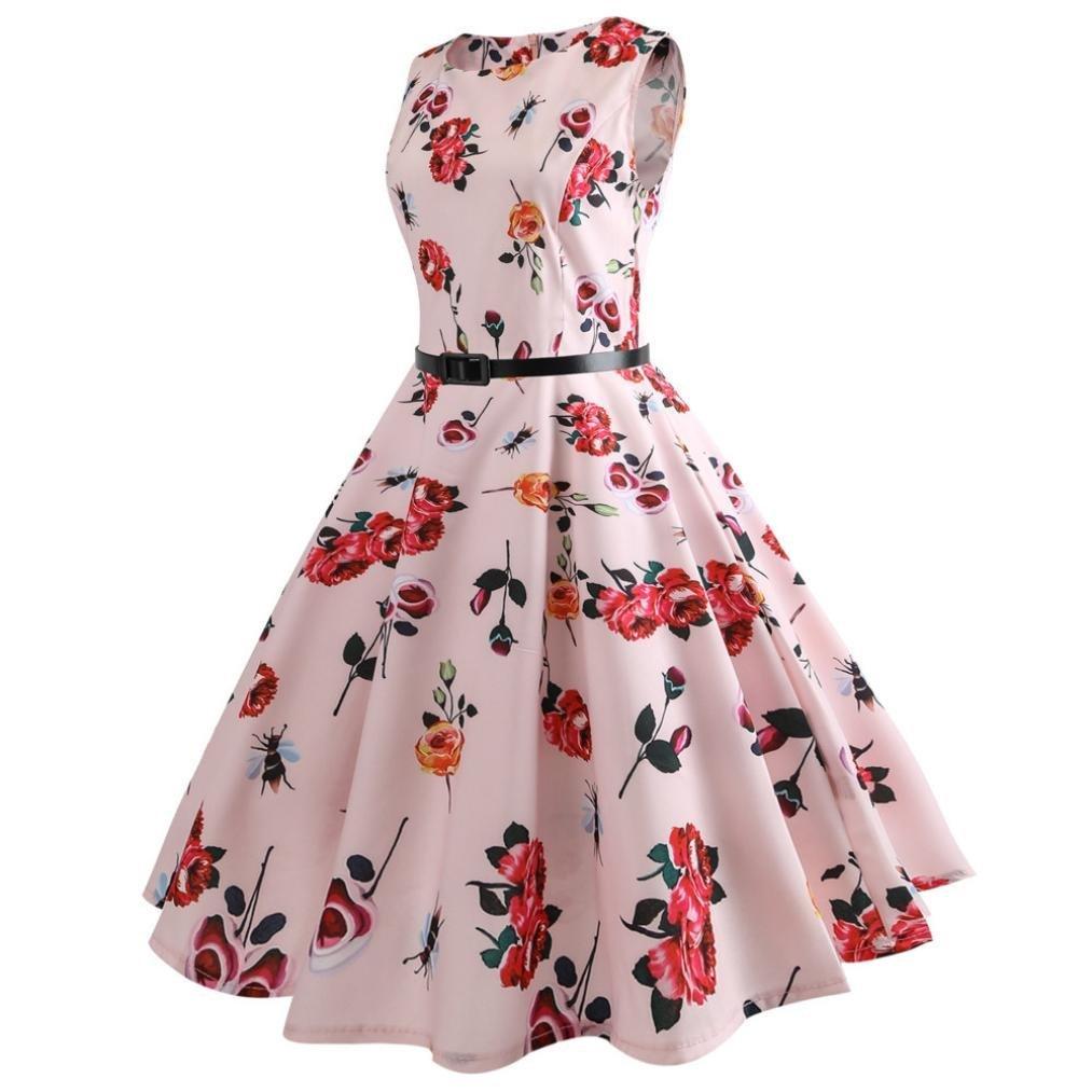 Rakkiss Women Print Sleeveless Big Dress Print Party Evening Prom Swing Dress: Amazon.com: Grocery & Gourmet Food