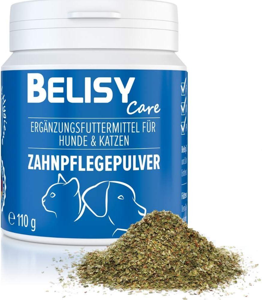 Belisy - Cuidado dental para perros y gatos - 110 g - Polvo para cuidado dental contra el mal aliento y el sarro - Eliminador de sarro natural