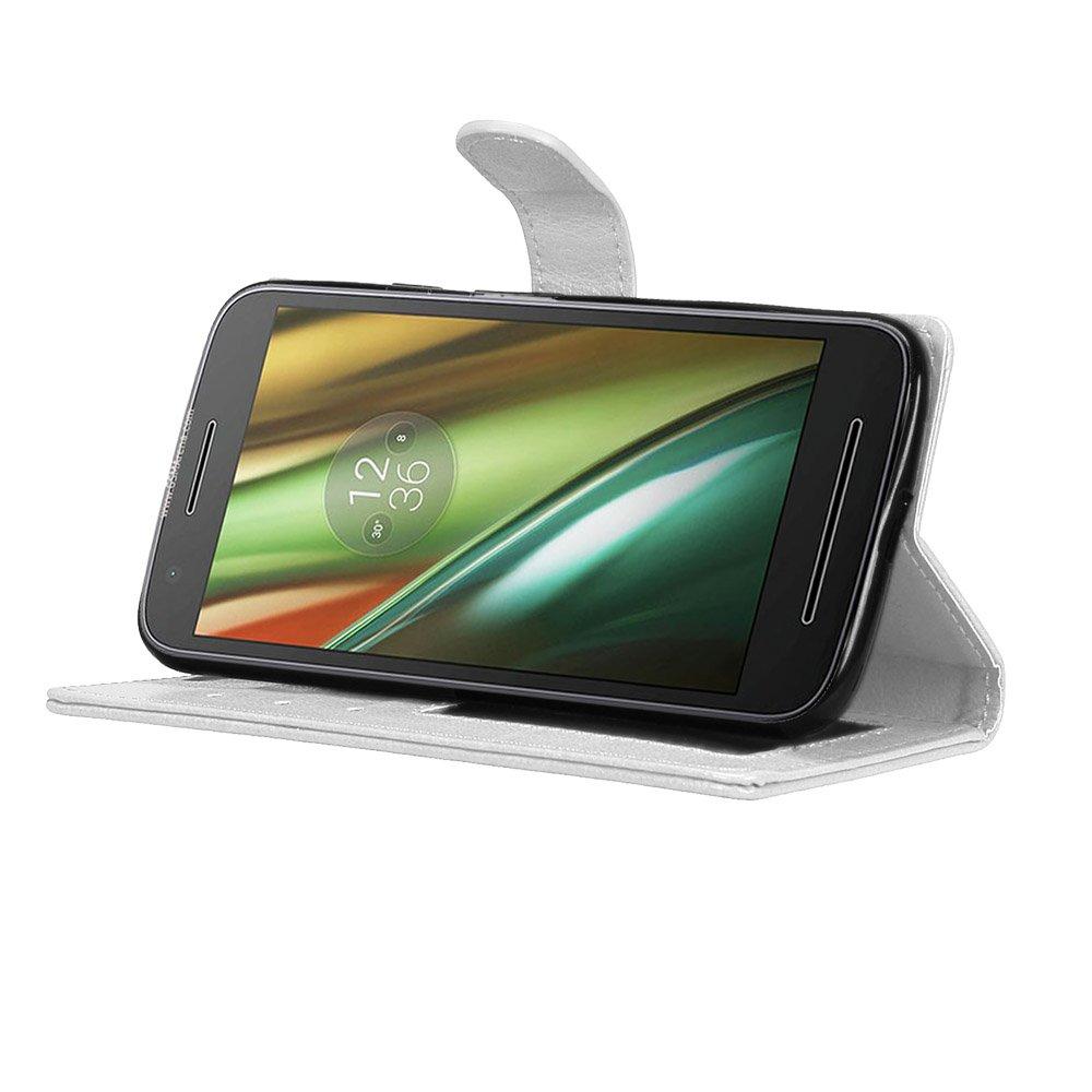 Laybomo Schuzh/ülle f/ür Motorola Moto E3 H/ülle Ledertasche Weiches Gummi Silikon TPU Haut Beutel Sch/ützend Stehen Bilderrahmen Brieftasche Schale Tasche Handyh/ülle f/ür Motorola Moto E3 Wei/ß