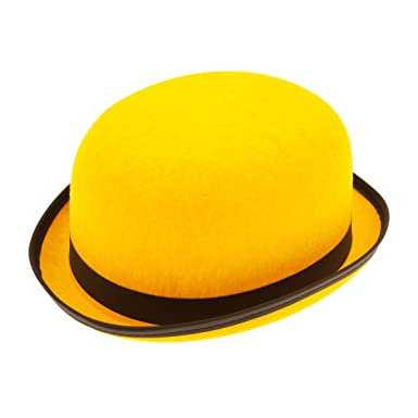 Hat Bowler Yellow Felt for Fancy Dress Party Accessory  Amazon.co.uk   Clothing 5463cb129d3