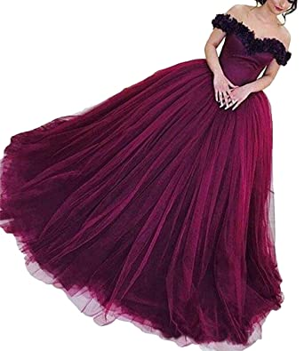 VikDressy Womens Black Appliques Tulle Prom Dress Off Shoulder Burgundy Evening Dress 2017 Long Ball Gown