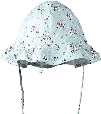 Boomly Bebé Sombrero para el Sol Anti-UV con Correa de la Barbilla Verano Sombrero de Playa Algodón Respirable Sombrero de protección para el Cuello Floral Sombrero de Pesca