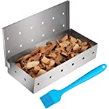 Cosumina Stainless Steel BBQ Smoker Box for Grilling Barbecue Wood Chips On Gas Grill or Charcoal Grill Grilling Accessories
