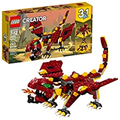 Enjoy monstrous adventures with this LEGO Creator 3in1 31073 Mythical Creatures set. Create a fire-breathing Dragon with a dark-red and yellow color scheme, large fangs, green eyes and pointed claws. This 3in1 children's toy also features pos...
