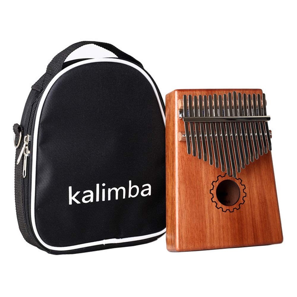 Gear Pattern 17 Keys African Kalimba Thumb Piano Standard C Tune Finger Piano Mahogany Wood Body Metal Tines With Tuning Hammer Carry Case Kids Musical Instrument Gifts for Music Lover Beginners