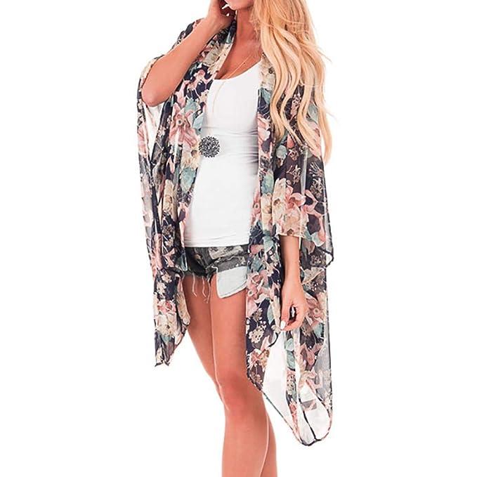 DEELIN Moda De Verano Temperamento Dama Mujer De Gasa Chal De ImpresióN Kimono Cardigan Blusa Playa Traje De Playa Partido De ProteccióN Solar Suit Negro: ...