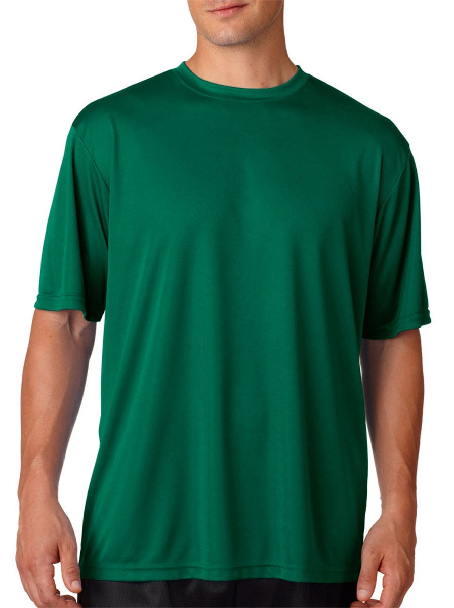 A4 Short-Sleeve Cooling Performance Crew Neck T-Shirt, Small, Forest Green
