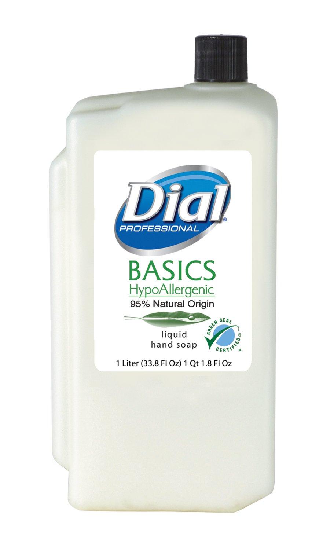 Dial 1326751 Basics Honeysuckle Floral White Pearl Hypoallergenic Liquid Hand Soap, 1 Liter Refill Cartridge (Pack of 8)