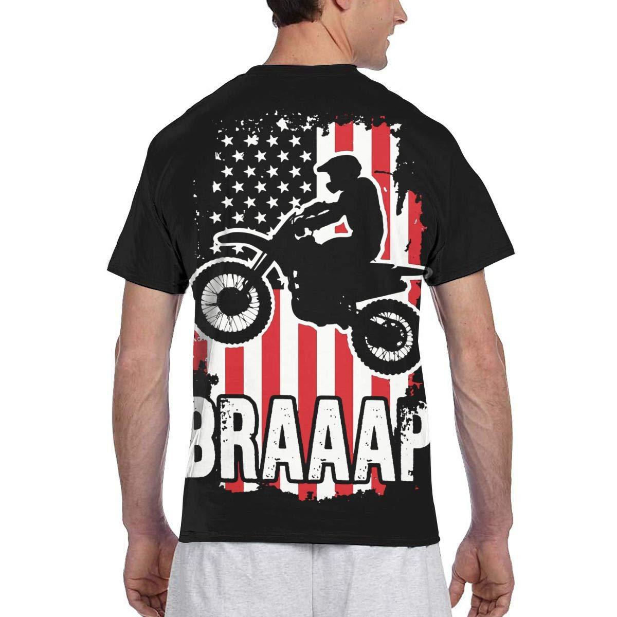 USA Flag Dirtbike Motocross Mens Short Sleeve T-Shirt Print Tees Tops