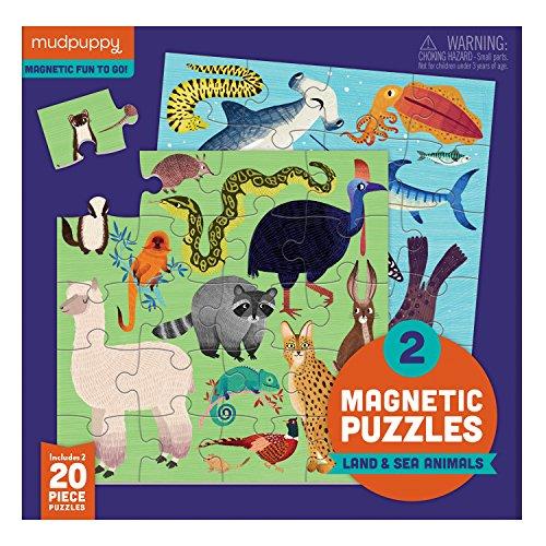 Doug Puzzle Portfolio - Mudpuppy 9780735355682 Land & Sea Animals Magnetic Jigsaw Puzzle, Two 20Piece Puzzles in Tri-Fold Travel Portfolio, Ages 4 & Up, Multicolor