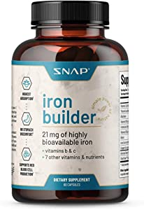 Natural Blood Builder Iron Supplements for Anemia, 21mg Iron Pills to Increase Energy, Metabolism & Digestion, Raise Hemoglobin Levels - Absorbs Quickly Vitamins Organic Nutrients (60 Capsules)
