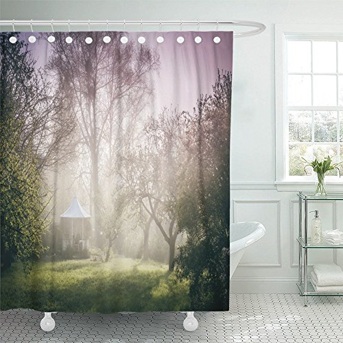 Emvency Shower Curtain Waterproof Green Eden of Pavilion in the Garden Mood Beautiful Misty Apple Bright Fantasy Polyester Fabric 60 x 72 Inches Set With Hooks
