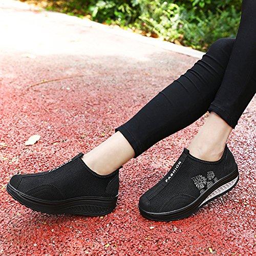 Femmes Enllerviid Forment Des Chaussures De Marche En Maille Glisser Sur La Plate-forme Fitness Toning Baskets 259-2 Noir