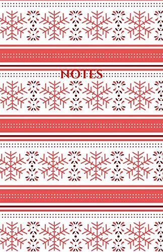 Notes: Classic Medium Lined Journal/Diary for Everyday Use Red and White Christmas Snowflake Pattern ()