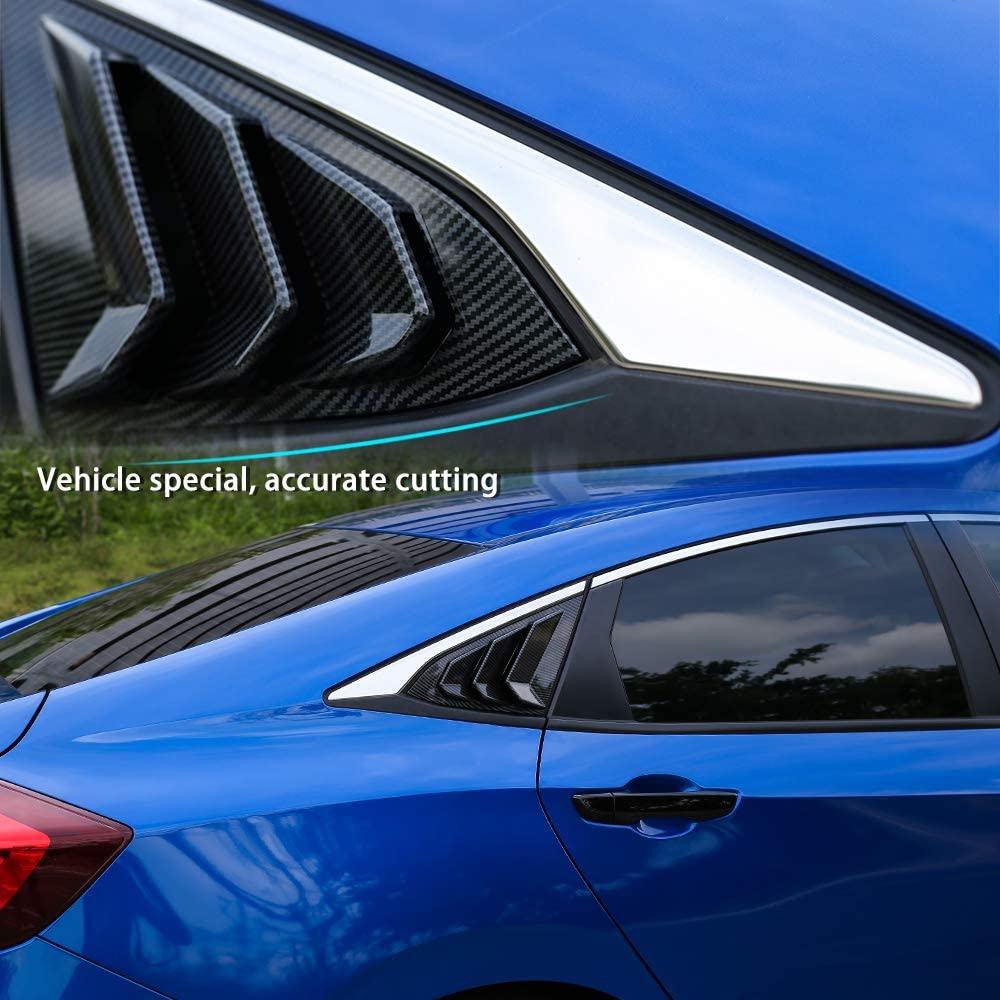 Thenice for 10th Gen Civic Racing Style Rear Side Window Louvers Air Vent Scoop Shades Cover Blinds for Honda Civic Sedan 2020 2019 2018 2017 2016 Carbon Fiber Red
