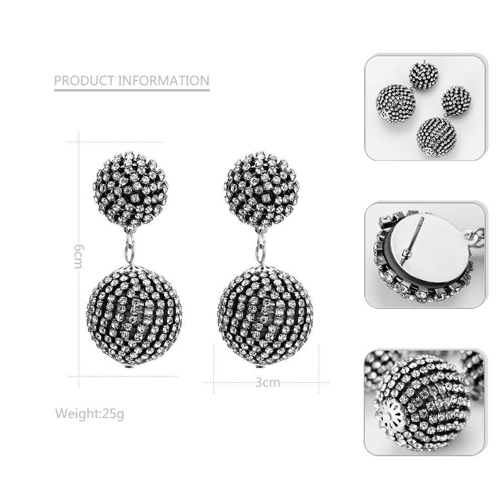 YAZILIND Alloy Earrings Spherical Pendant Rhinestone Earrings Simple Fashion Personality Earrings for Women
