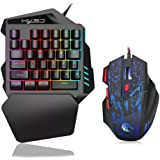 Docooler HXSJ J50 One-Handed Gaming Keyboard 35 Keys LED Backlight + Wired Gaming Mouse with Breathing Light 5500 DPI 7…