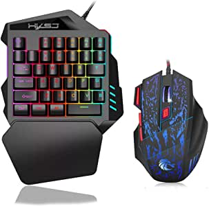 KKmoon HXSJ J50 One-Handed Gaming Keyboard 35 Keys LED Backlight + Wired Gaming Mouse with Breathing Light 5500 DPI 7 Button Keyboard and Mouse Combo