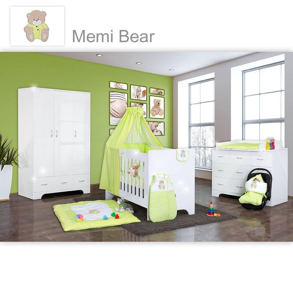 Hochglanz Babyzimmer Memi 19-tlg. mit Textilien Memi in Grün